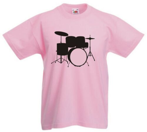 DRUMKIT drummer drums band rock grunge music Childrens Kids t-shirt 1-13 years