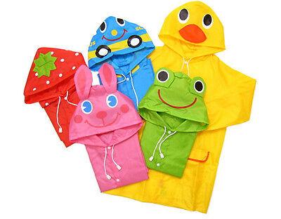 Cute Baby Boy Girls Kid Children Cartoon Funny Colorful Raincoat Rain coat