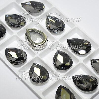 12 Rhinestone 4320 18x25mm Black Diamond Sew On Foiled Crystal Teardrop Fancy