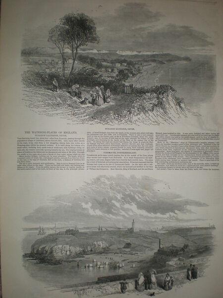 Vues De à Budleigh Salterton Et Tynemouth Harbour 1850 Old Prints And Articles Pour ExpéDition Rapide