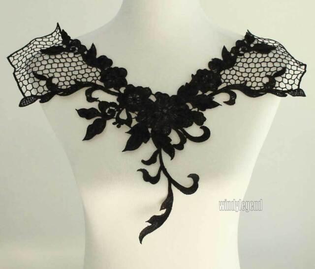 BLACK NECK COLLAR DRESS COSTUME VENISE LACE TRIMS APPLIQUE CRAFT 17.3''X13''