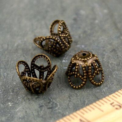 10mm Antique Bronze Plated Brass Stamping Filigree Bead Caps bc36b(18pcs)