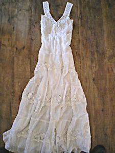 EMMA-White-100-Cotton-Crochet-amp-Eyelet-Maxi-Sun-Dress-CHELSEA-VERDE-M