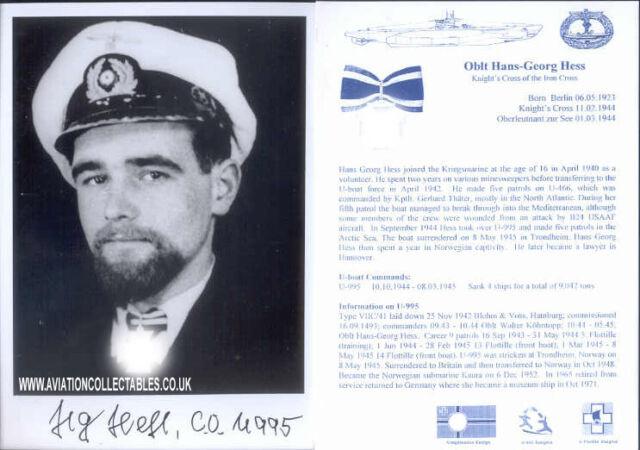 U-boat photo signed WWII WW2 Captain HESS KC UB5