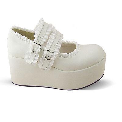 weiß lolita Shoes damen-Schuhe keilabsatz wedges renaissance halbschuhe platform