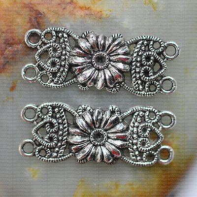 5pcs tibetan silver flower Charm connectors 36x19mm A0038