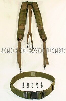 US Military Load Bearing Suspenders Y Strap w 5 Clips USMC L Pistol Belt VGC