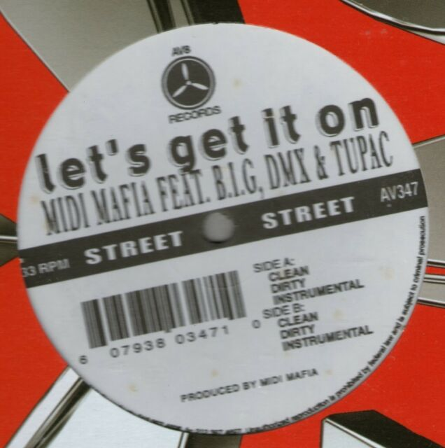 "MIDI MAFIA Feat B.I.G, DMX & 2PAC / LET'S GET IT ON 12"" AV8 HIP HOP SEALED AV347"