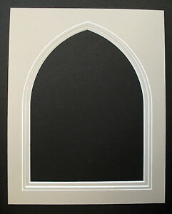 Double-Picture-Mounts-Gothic-Arch-with-V-Groove-Various-Sizes-Colours