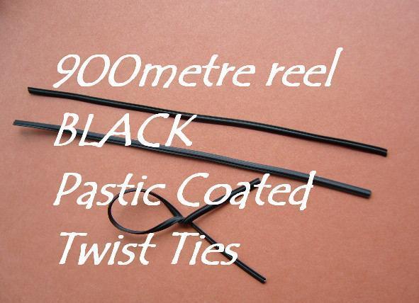 Plastic Coated Wire Ties Twist Ties 900m Reel All Purpose BLACK