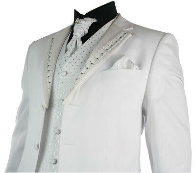Mens Wedding Party Suit White Silver Striped Design Waistcoat, Crovat & Handkerc