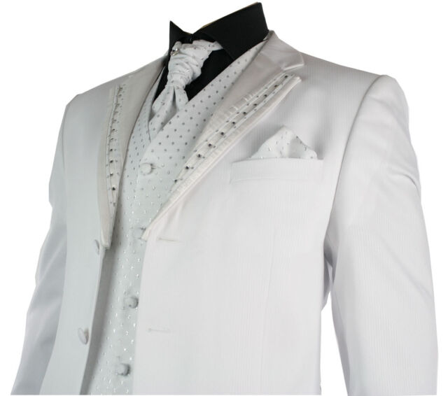 Mens Wedding Party Suit White Silver Striped Design Waistcoat, Crovat & Handkerc