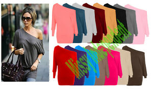Womens-Celebrity-Inspired-Off-Shoulder-Batwing-Slouch-Baggy-Top-Long-Sleeve-8-14