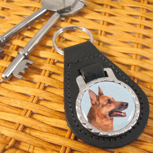 German Shepherd Dog Bonded Leather Key-fob/Metal Keyring