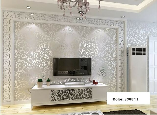 Sliver&gray Victorian Damask/Embossed Textured Wallpaper + Free Tracking Number