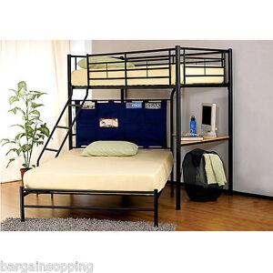 Modern Black Metal Twin Over Full Loft Bunk Bed W Study