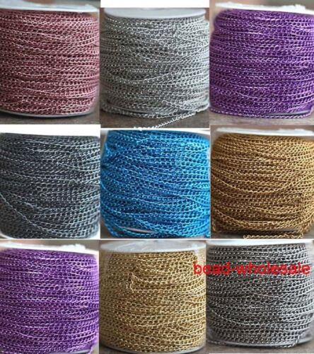 5m/100m Various Colors Aluminum Metal Wave Cable Chain Jewelry Finding Chain