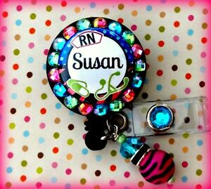 NURSE-RN-NAME-RETRACTABLE-ID-REEL-BLING-BADGE-HOLDER-with-Charm