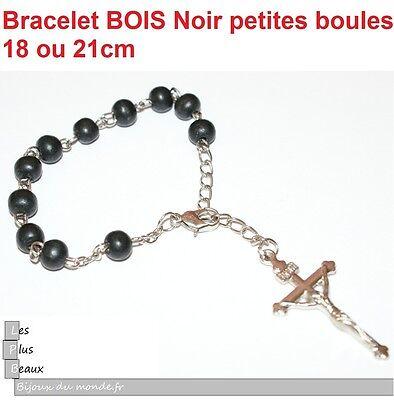 Bracelet CHAPELET CRISTIANO ROSARY en BOIS NOIR perles 6mm NEUF