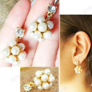 2012-Fashion-New-pair-gold-plated-imitate-pearl-crystal-Dangle-ball-earrings