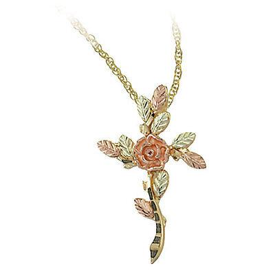 Black Hills Gold cross pendant rose flower womens inspirational 18 in necklace