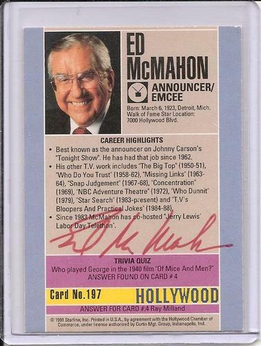 Ed McMahon Signed Starline Hollywood card