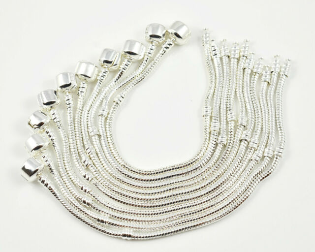 10 pcs Snake Chain Fit European Beads Silver Charm Bracelet Choose Size