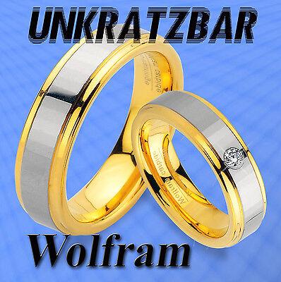2 Wolfram Trauringe Inkl. Innen Gravur Mit Ip Gold Platierung Titan Look Jw10-1