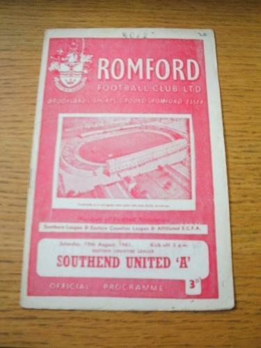 19081961 Romford Reserves v Southend United A Slightly Folded, Number On Fro