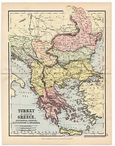 MAP of the BALKANS Turkey in Europe Greece Serbia 1880th