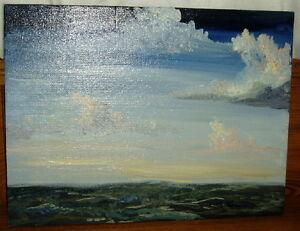 Seascape-Painting-On-Board-Ocean-John-Robert-Dunkle-Sr