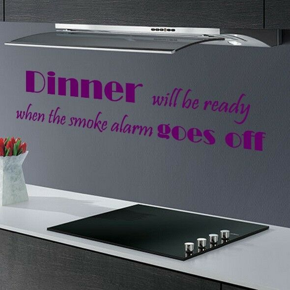 DINNER WILL BE ... FUNNY KITCHEN DINING ROOM QUOTE WALL ART DECAL STICKER VINYL