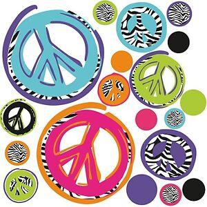 ZEBRA-PEACE-SIGNS-26-BiG-Wall-Stickers-Room-Decor-Decals-Black-Purple-Pink-Blue
