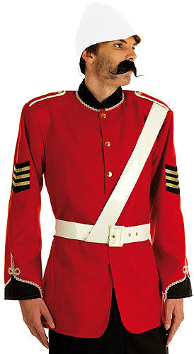 Mens Zulu Victorian Boer War British Soldier Costume Outfit Red Uniform New Med