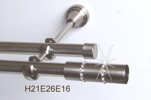 Edelstahl Gardinenstange  2-läufig Kristall 16 mm  H21