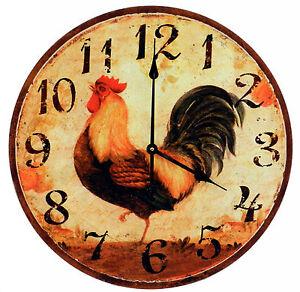Orologio da parete legno con decorazione gallo cucina diametro 60 ...