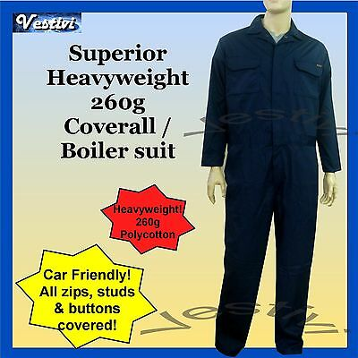 Mens Quality Boiler suit Overall Coverall Workwear Mechanic  Navy Blue 260g New