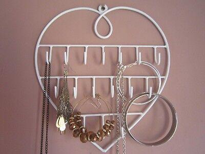 Jewellery Key Display Holder Hanger Necklaces Bracelets Wall Hooks White Girls