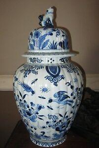 Grande Potiche Vase Faience De Samson Style Delft Rouen