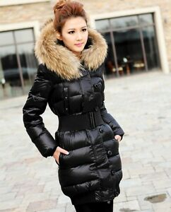 Ladies Winter Raccoon Long Fur Down Jacket Coat Parka with Hood ...