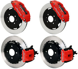 "WILWOOD DISC BRAKE KIT,HONDA CIVIC,10735,10209,12"" ROTORS,RED CAL,6 PISTON FRONT 