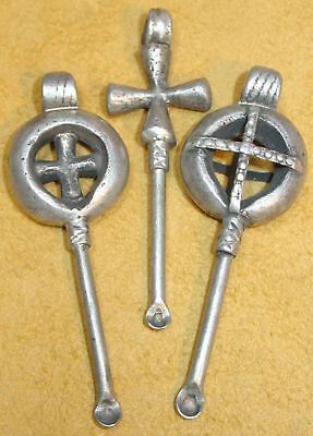 Antique Ethiopian Handmade Coptic Christian Cross Ear Picks / Ear Spoon Pendants