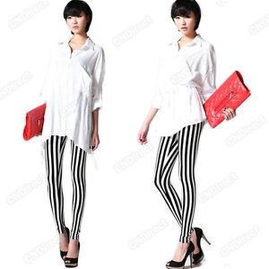 Black-and-White-Womens-Vertical-Stripes-Zebra-Leggings-Pants-Striped-Tights-Hot