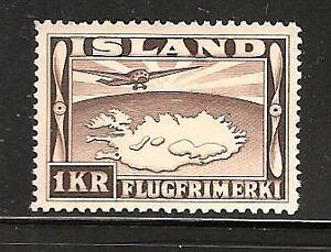 ICELAND # C19 Mint PLANE OVER LAKE