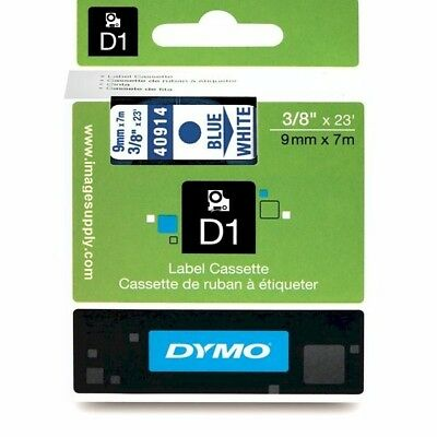 "Dymo 40914 Label Maker Tape Blue/White 3/8"" D1 Tape 9mm LabelPoint LabelManager"