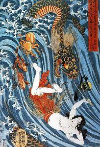 Tamatori-PURSUED-BY-DRAGON-Kuniyoshi-Nude-ocean-octopus-fish-Japan-Art-PRINT