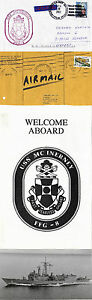 USS MCINERNEY FFG 8 GUIDED MISSILE FRIGATE NAVAL COVER PHOTO WELCOME ABOARD