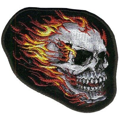 FLAMING SKULL  TRIBAL MIRROR SKULLS DELUXE BIKER PATCH  biker iron on