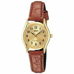 Casio-Womens-Brown-Leather-Strap-Watch-Champagne-Dial-LTP1094Q-9B