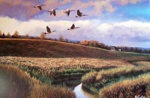 Cyril-Cox-Canadian-Wildlife-Art-Original-L-E-Signed-COA-Autumn-Calling